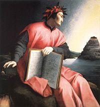 Pintura de Dante en el Purgatorio